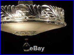 992 Vintage 30s 40s aRT DEco CEILING LIGHT CHANDELIER lamp fixture white 1of 2