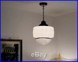 994 Vintage aRT DEco Ceiling Light Lamp Fixture Glass JUMBO SIZE antique