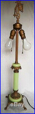 ANTIQUE ART DECO SLAG GLASS LAMP BASE WithJADEITE GLASS MARKED PAT. APP E704 29,5