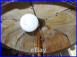 ANTIQUE ART NOUVEAU 6 PANEL SLAG GLASS LAMP SHADE HandelTiffanyB&H Era