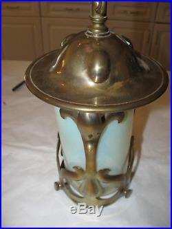 ANTIQUE ART NOUVEAU ARTS & CRAFTS BRASS HANGING LAMP With OPALESCENT GLASS 1 LIGHT