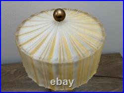 ANTIQUE FROSTED GLASS ART DECO LAMP WithRIBBED GLASS SHADE APPROX 14 Tall