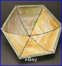ANTIQUE OLD Vintage SLAG GLASS IRON LAMP ART DECO NOUVEAU FLORAL 6 Panel