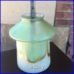ANTQ Set of 4 Matching STEUBEN SIGNED Art Glass Lamp Shades Pulled Feather EXC