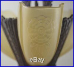 ART DECO 1920's BRONZE SLIP SHADES 3 LIGHT CEILING CHANDELIER FIXTURE LAMP