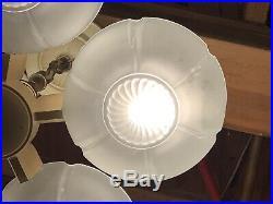 ART DECO ANTIQUE 5 SLIP SHADE CEILING LIGHT LAMP FIXTURE CHANDELIER MARKEL Wow