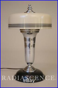 ART DECO STREAMLINE MODERN CHROME GLASS TABLE LAMP 1930s FARIES MARKEL CHASE 30s