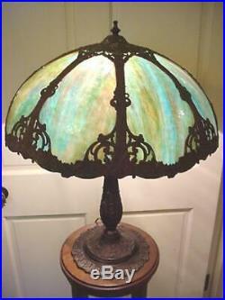 ART NOUVEAU Antique Slag GLASS LAMP Unusual Blue Green 8 Panels ARTS & CRAFTS
