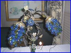 ART NOUVEAU LAMP with 3 CZECH GRAPE CLUSTER SHADES / Antique