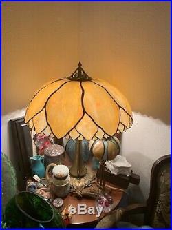 AUTHENTIC Signed HANDEL Huge Caramel Slag Glass Palm Leaf Lamp Arts and Crafts