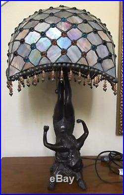 Amazing Bronze Woman Art Nouveau Leaded Stained Glass Shade Beaded Lamp