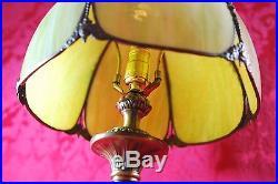 Amazing! Vintage Green Glass Slag Dome Lamp Shade Bronze Rose Decor Art Nouveau