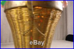 Antique1920 Art Deco Czech Crystal Beaded Glass Fruit Basket Table Lamp