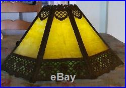 Antique 1890-1920 Slag Glass Art Nouveau Lamp Shade Octagonal Tan Green