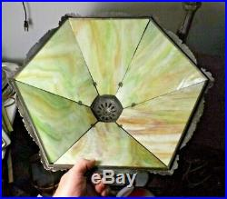 Antique 1900s Art Nouveau Green Slag Stained Glass Table Lamp Rewired FREE SHIP