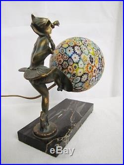 Antique 1920 Beautiful Art Deco Lady Figural lamp with Millefiori glass ball shade