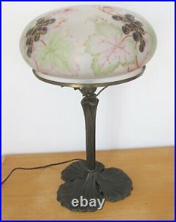 Antique 1920's Art Nouveau Reverse Painted Glass Dome Table Lamp Weber