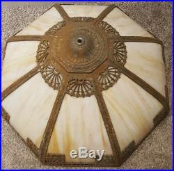 Antique 1920's Edward Miller Gold Gilt Art Nouveau Caramel Slag Glass Table Lamp