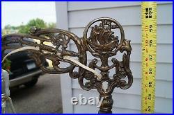 Antique 1920s 30s Art Deco Jadite Glass Metal Brushed Brass Bronze Floor Lamp