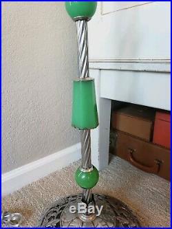 Antique 1920s Art Deco Houze Jadite Uranium Glass Floor Lamp Rewired Free Ship