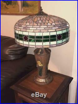 Antique 1920s Gorgeous H. E. Rainaud Slag Stained Leaded Art Glass Lamp Exc Cond