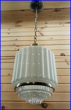 Antique 1920s Hanging Art Deco Milk Glass Skyscraper Ceiling Lamp Light Fixture