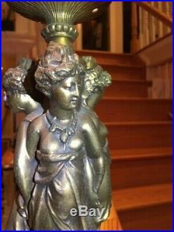 Antique 3 Graces Art Nouveau Deco Figural Ladies Lamp Original Flame Shade Newel