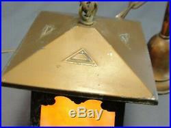 Antique 4 Panel Slag Glass Arts & Crafts Mission Light Lamp Porch