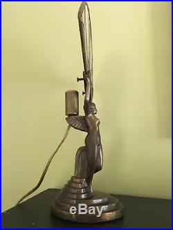 Antique ART DECO Chandler II backlit bronze nude lady lamp with stained glass