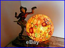 Antique ART DECO Table Lamp PIXIE with Colorful Millifiore Round Glass Globe SHADE
