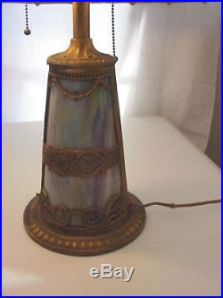 Antique ART NOUVEAU Blue Slag Glass TABLE LAMP with 20 inch Shade & Lighted Base
