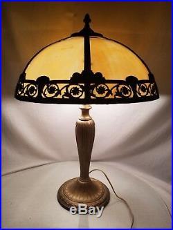 Antique A & R CO. Panel Art Nouveau Slag Glass Shade Caramel Art Crafts Signed