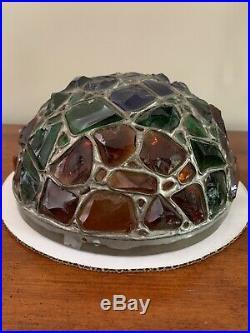Antique Art Deco Austrian Lamp Chunk Leaded Glass Jeweled Shade Dome Mushroom