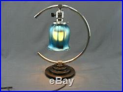 Antique Art Deco Era Chrome Table Lamp Blue Aurene Glass Shade Rewired