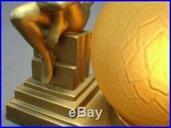 Antique Art Deco Frankart Nuart Gold Nude on Pedestal Lamp Amber Globe Shade