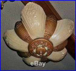 Antique Art Deco Glass Slip Shade Ceiling Chandelier 5 Lamp Iron Ceiling Fixture