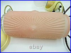 Antique Art Deco Headboard Wall Hanging Lamp Pink Flash Frosted Glass Nifty Lamp