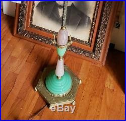 Antique Art Deco Houzex Glass Floor Lamp Absolutely Stunning