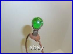 Antique Art Deco Jadeite 20 Tall Green Glass Lamp With Marble Finial