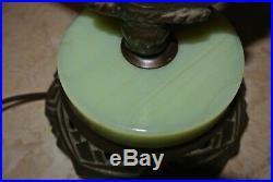 Antique Art Deco Jadeite Glass Cast Iron Table Lamp