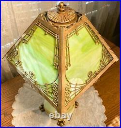 Antique Art Deco Jadeite Table Lamp w Slag Glass Shade-Original