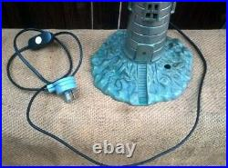 Antique Art Deco Lighthouse Table Lamp Desk Light With Marbled Glass Shade
