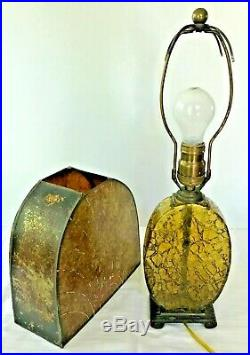 Antique Art Deco Mica & Amber Crackle Glass Table Lamp 18 tall