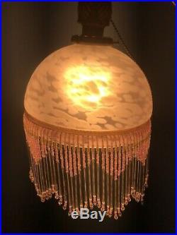 Antique Art Deco Nouveau Glass Bridge Arm Floor Lamp Vintage