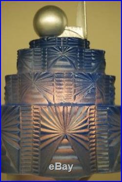 Antique Art Deco Nouveau Ny Worlds Fair Skyscraper Glass Shade Boudoir Blue Lamp