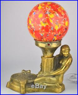 Antique Art Deco Nude Figural Lamp Czech Glass End Of Day Globe Shade Rewired