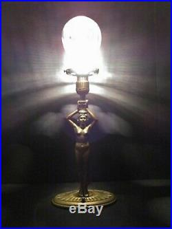 Antique Art Deco Numbered Lady Figural Lamp With Vintage Unique Glass Shade