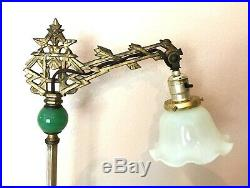 Antique Art Deco Oriental Knight Bridge Arm Floor Lamp Cast Iron Brass Art Glass