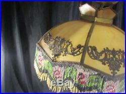 Antique Art Deco Slag Hanging Lamp with Metal Overlay & Glass Beaded Fringe