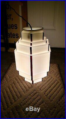 Antique Art Deco Vaseline Glass Light Shade Skyscraper Chandelier Pendant Lamp
